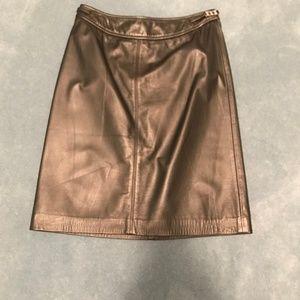 Ann Taylor Loft Black Leather Skirt Size 4